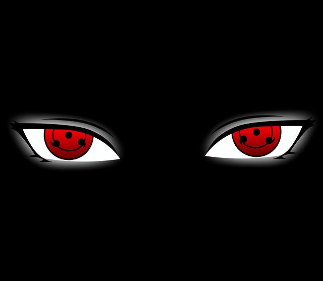 Le kaléidoscope hypnotique du Sharingan dans Naruto avec les fameuses pupilles rouges